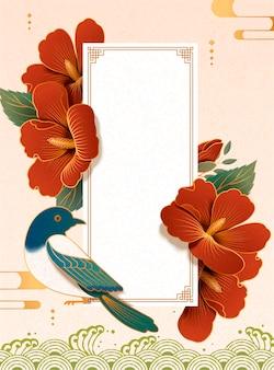 Elegante hibiscus en ekster op papierkunstachtergrond
