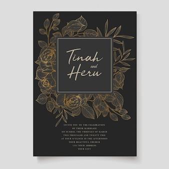 Elegante huwelijksuitnodiging designg met mooie bloemen