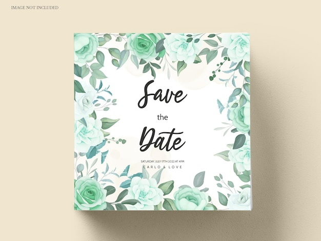 Elegante huwelijksuitnodiging met groenbloem en bladeren
