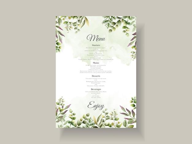 Elegante huwelijksuitnodiging met groene bladeren