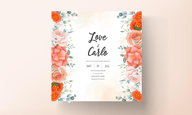 Elegante huwelijksuitnodiging met oranje bloemenornamenten