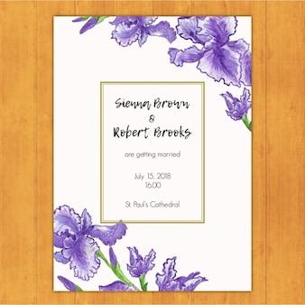 Elegante huwelijksuitnodiging met paarse irissen
