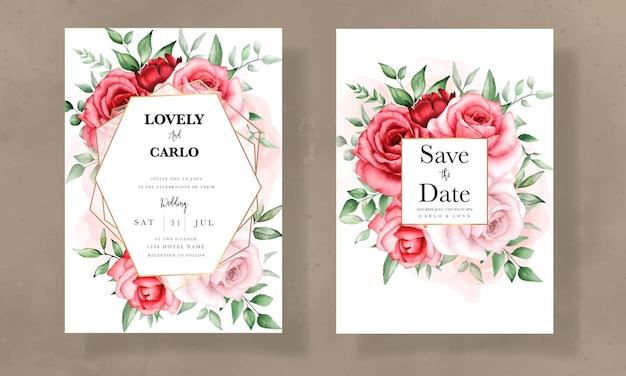 Elegante huwelijksuitnodiging met prachtige aquarelbloem