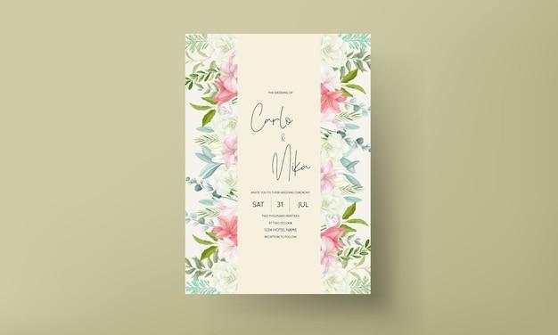 Elegante huwelijksuitnodiging met prachtige handtekening bloem en bladeren