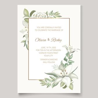 Elegante huwelijksuitnodiging met prachtige lelie