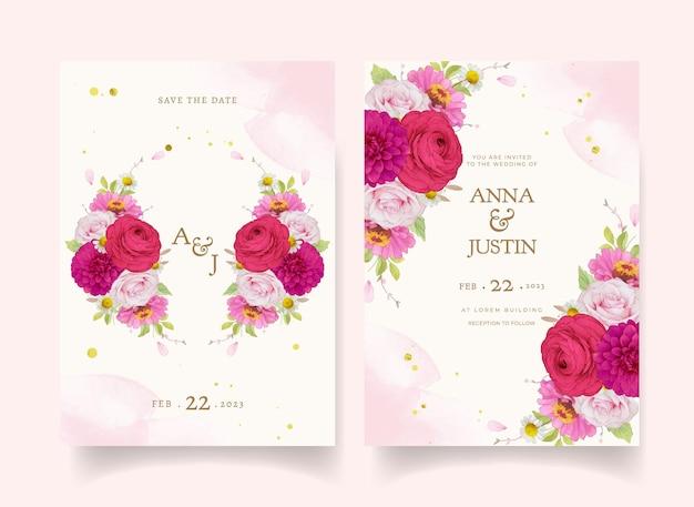 Elegante huwelijksuitnodigingen met donkerroze aquarelbloemen
