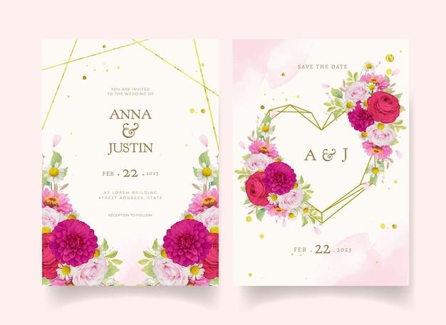 Elegante huwelijksuitnodigingen met donkerroze aquarelbloemen Gratis Vector