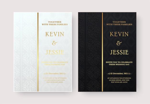 Elegante huwelijksuitnodigingen met stijlvolle decoratieve patroonontwerpen