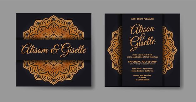 Elegante huwelijksuitnodigingskaart met mandala-decoratiesjabloon