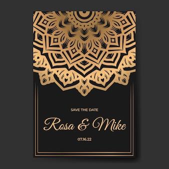 Elegante huwelijksuitnodigingskaart met mandala-sjabloon