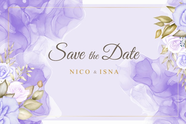 Elegante huwelijksuitnodigingskaart met mooie zachte bloemenwaterverf