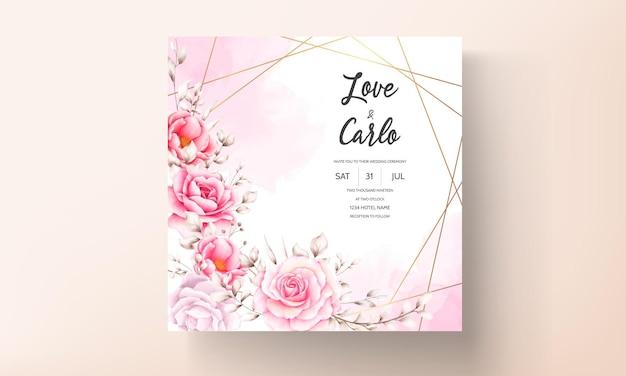 Elegante huwelijksuitnodigingskaart met prachtige aquarel bloemen