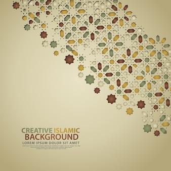 Elegante islamitische creatieve achtergrond sjabloon met sier kleurrijk mozaïek