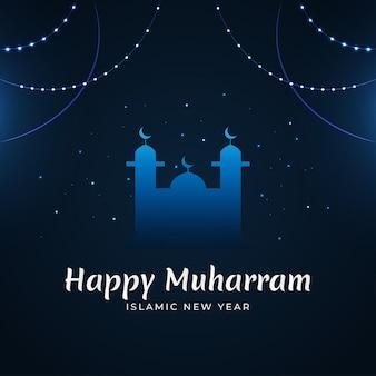 Elegante islamitische nieuwjaar ontwerpconcept met moskee silhouet
