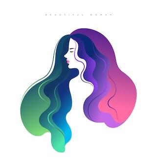 Elegante jonge vrouw zijgezicht met kleurrijk haar