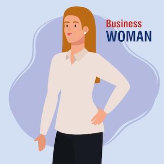 Elegante jonge zakenvrouw avatar characterdesign illustratie