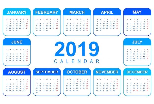 Elegante kalender kleurrijke 2019 sjabloonontwerp
