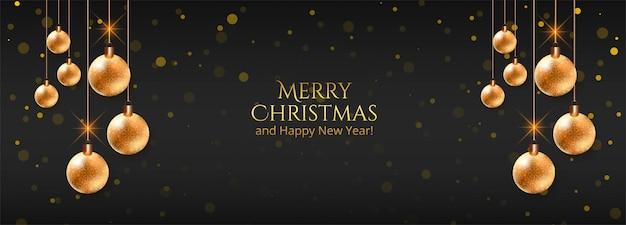 Elegante kerst decoratieve ballen op zwarte banner