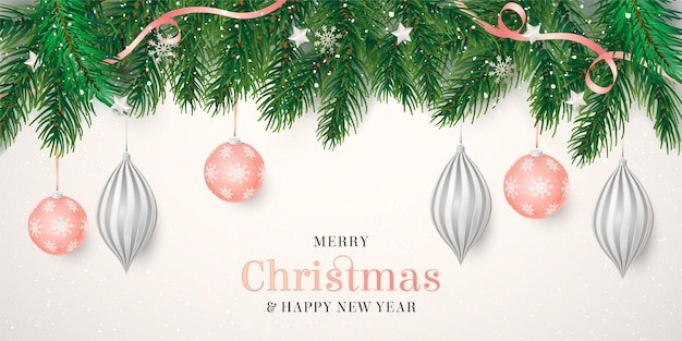 Elegante kerstachtergrond met realistische decoratie
