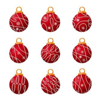 Elegante kerstballen met lijnen en sneeuwvlokkencollectie