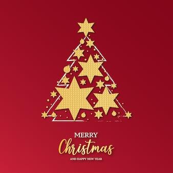 Elegante kerstkaart met kerstboom versierd met gouden sterren Gratis Vector