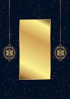 Elegante kerstmisachtergrond met decoratieve gouden hangende snuisterijen