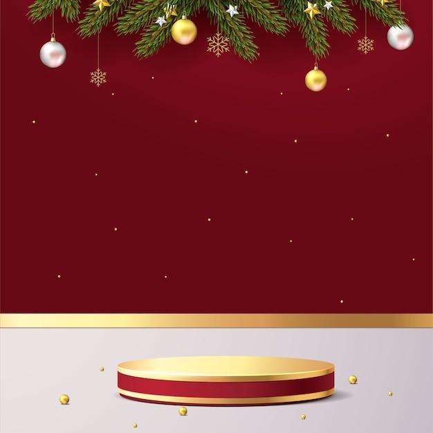 Elegante kersttafereel. podiumvorm voor showproductvertoning. podium voetstuk of platform. realistische 3d