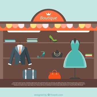 Elegante kleren in een modewinkel