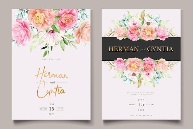 Elegante kleurrijke bloemen bruiloft uitnodiging kaartenset Gratis Vector