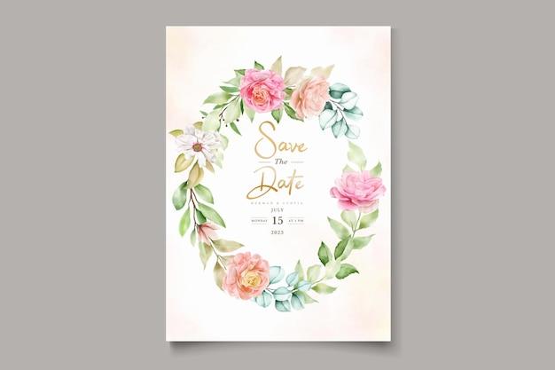 Elegante kleurrijke bloemen bruiloft uitnodiging kaartenset