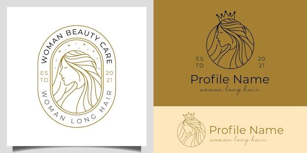 Elegante koningin vrouw lang haar met kroon ontwerpconcept voor kapper, schoonheidssalon logo ontwerp
