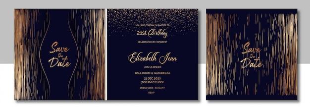 Elegante koper en donkerblauwe uitnodiging