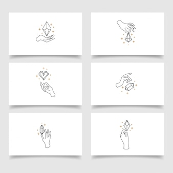 Elegante kristallen hand logo bewerkbare sjabloon
