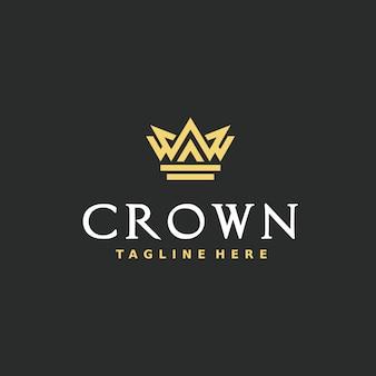 Elegante kroon logo ontwerpsjabloon