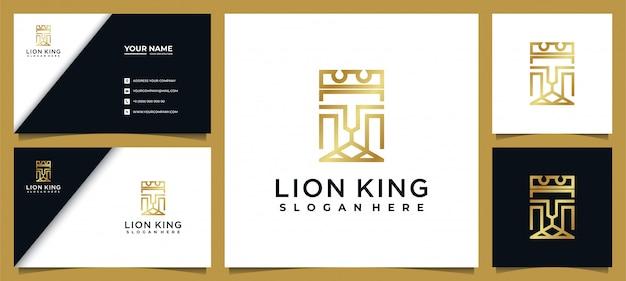Elegante leeuwenkoning logo lijnstijl met visitekaartje