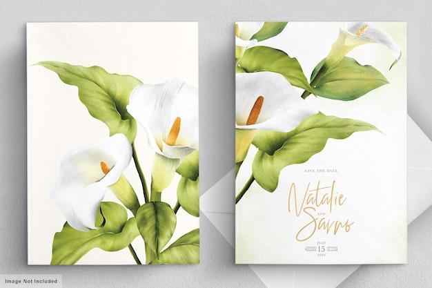Elegante lelie bruiloft kaartenset Premium Vector