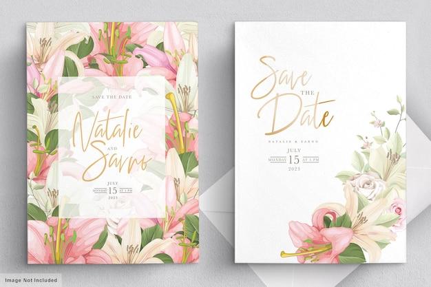 Elegante lelie bruiloft kaartenset Gratis Vector