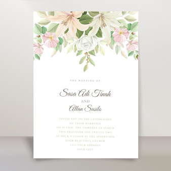 Elegante lelie bruiloft uitnodiging kaartenset