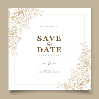 Elegante lijn kunst bruiloft uitnodiging kaartsjabloon