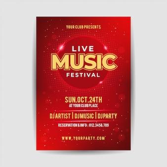 Elegante live muziek partij festival flyer poster