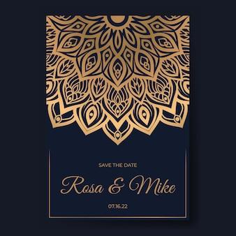 Elegante luxe huwelijksuitnodiging met mandala-ontwerp