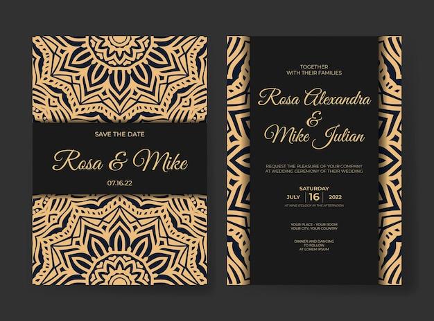 Elegante luxe huwelijksuitnodiging met mandala-ornamentdecoratie