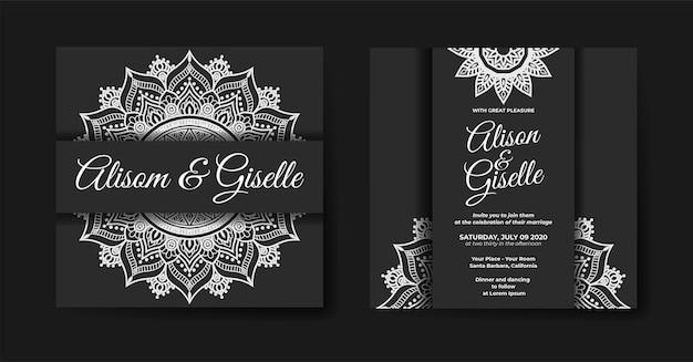 Elegante luxe huwelijksuitnodiging met mandala-sjabloon