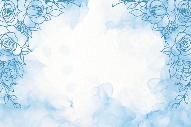 Elegante marineblauwe alcoholinktachtergrond met bloemen
