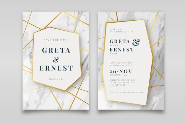 Elegante marmeren bruiloft uitnodiging sjabloon met gouden details