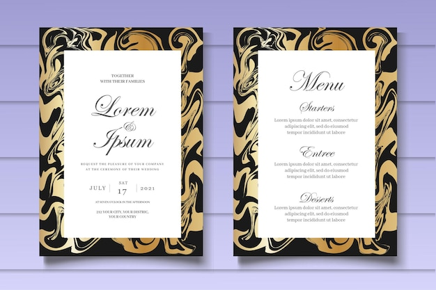 Elegante marmeren bruiloft uitnodigingssjabloon