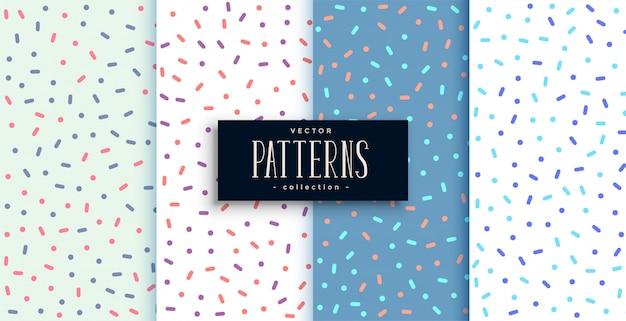 Elegante memphis stijl schattige patronen set van vier