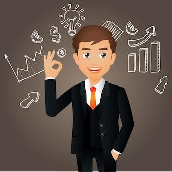 Elegante mensen uit het bedrijfsleven of manager met grafieken