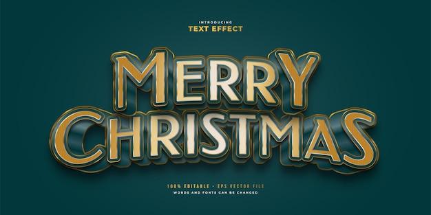 Elegante merry christmas-tekst in blauwe en gouden stijl met 3d-effect. bewerkbaar tekststijleffect
