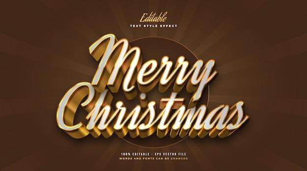 Elegante merry christmas-tekst in witte en gouden stijl in 3d-effect. bewerkbaar tekststijleffect